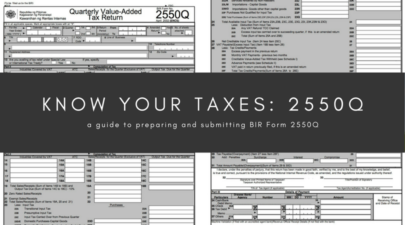 Know your taxes: 2550Q - Oojeema